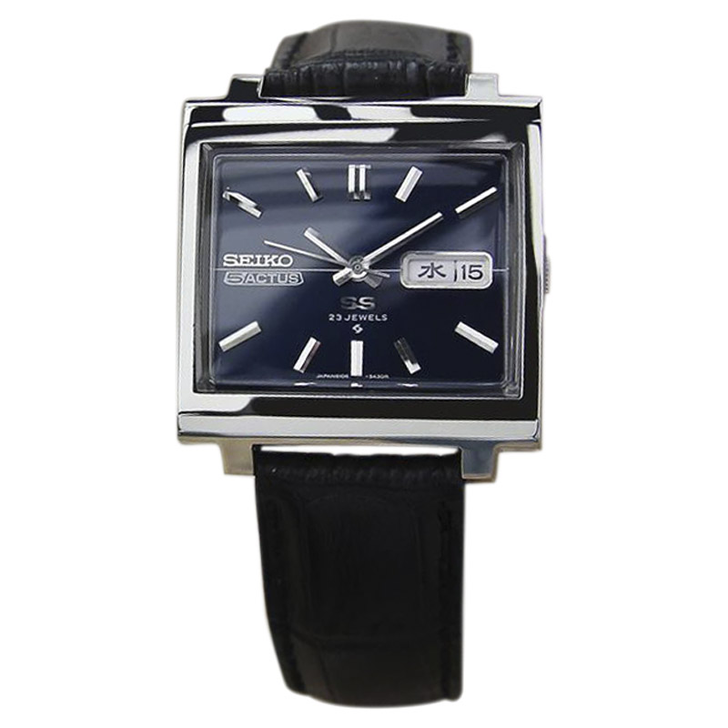 "Image of ""Seiko 5 Actus Stainless Steel & Leather Automatic 34mm Mens Watch"""