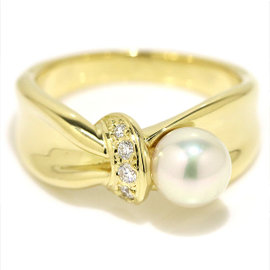 Mikimoto 18K Yellow Gold Akoya Pearl Diamond Ring Size 7.5