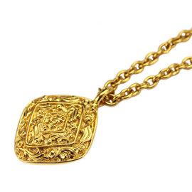 Chanel Gold Tone Metal Rhombus Coco-Mark Logo CC Chain Necklace