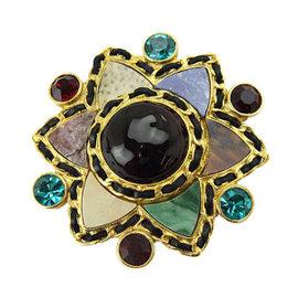 Chanel Gold Tone Metal Bijou Black Antique Rhinestone Brooch