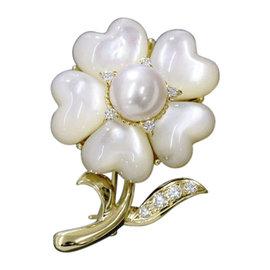 Mikimoto 18K Yellow Gold Akoya Pearl Shell Diamond Brooch