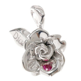 Christian Dior 18K White Gold Ruby Rose Motif Pendant
