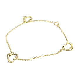 Tiffany & Co. 18K Yellow Gold Open Heart Chain Bracelet