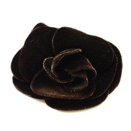 Chanel Dark Brown Velor Camellia Corsage Brooch
