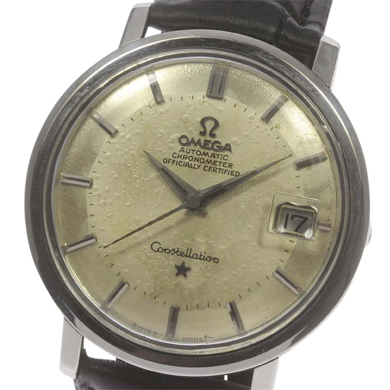 """Image of """"Omega Constellation Stainless Steel Leather Pie Pan Dial Automatic"""""""