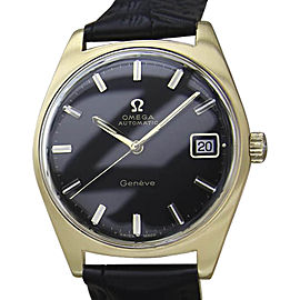 Omega Geneve Gold Plat Stainless Steel & Leather with Black Dial Vintage 34mm Mens Watch