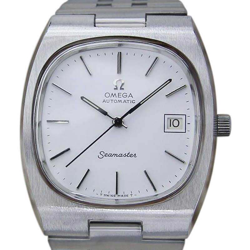 """Image of """"Omega Seamaster Stainless Steel with White Dial Vintage 36.5mm Mens"""""""