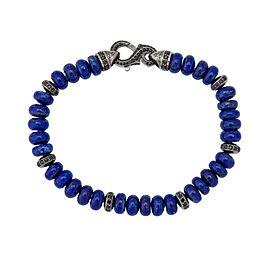 Stephen Webster 925 Sterling Silver Thorn Lapis & Pave Black Sapphire Beads Bracelet