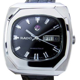 Rado Marco Polo Stainless Steel & Leather Automatic Vintage 40mm Mens Watch 1970
