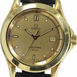 Omega Seamaster 18K Yellow Gold with Gold Dial 36mm Mens Watch