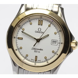 Omega Seamaster Stainless Steel / Yellow Gold with White Dial 36mm Mens Watch