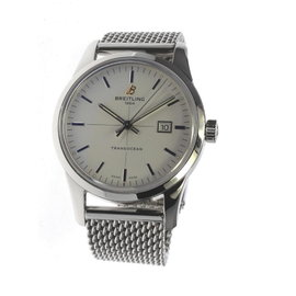 Breitling Transocean A10360 Silver Stainless Steel Automatic 43mm Mens Wrist Watch