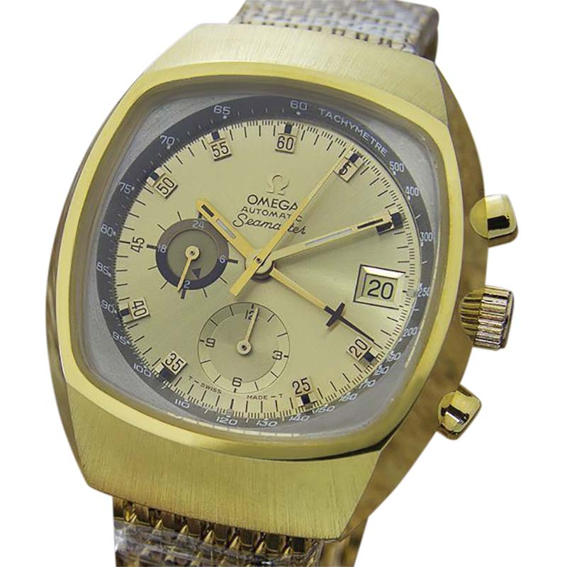 """Image of """"Omega Seamaster Gold Plated Stainless Steel with Yellow Dial Vintage"""""""