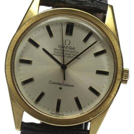 Omega Constellation 18K Solid Gold/Leather Vintage 33mm Mens Watch