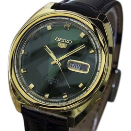 Seiko 5 6119 Gold Plated Stainless Steel & Leather Automatic 39mm Mens Watch c1970