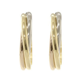 Cartier Trinity Hoop 18K Yellow White Rose Gold Earrings