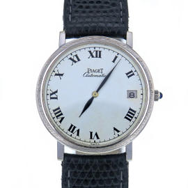 Vintage Piaget Altiplano 13603 18K White Gold & Leather White Dial Automatic 33mm Women's Watch 1972