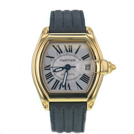 Cartier Roadster W62005V2 18K Yellow Gold & Leather White Dial Automatic 38mm Mens Watch 2008