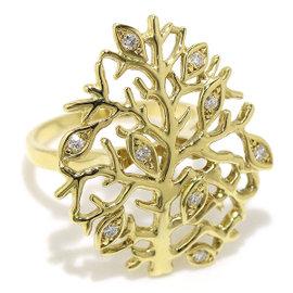 Mikimoto 18K Yellow Gold & 0.12ct Diamond Tree Motif Ring