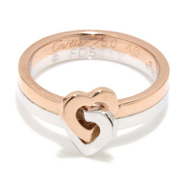 Cartier Double Heart 18K Rose & White Gold Ring Size 3.75