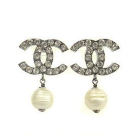 Chanel Silver Tone Metal Rhinestone & Faux Pearl Pierce Earrings