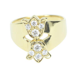 Dior 18K Yellow Gold with 0.14ct Diamond Ring Size 6.5