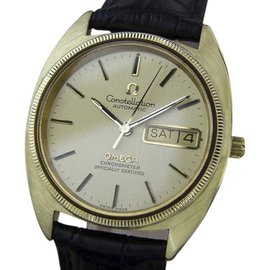 Omega Constellation MX166 Gold Plated Stainless Steel / Leather Vintage 35mm Mens Watch