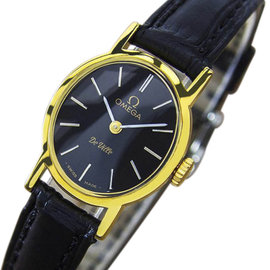 Omega Deville Gold Plated & Stainless Steel with Black Dial Vintage 21mm Womens Watch