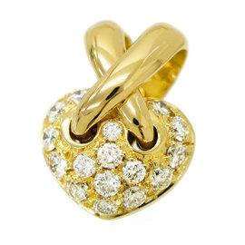 Chaumet 18K Yellow Gold Liens Diamond Heart Pendant