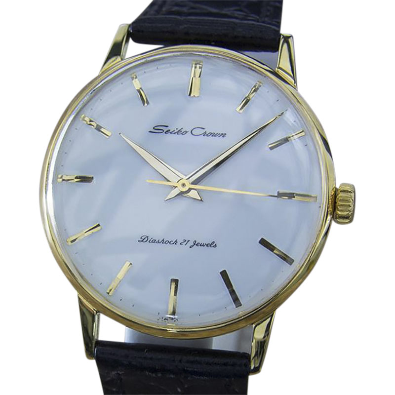 """Image of """"Seiko Crown Gold Plated and Stainless Steel & Leather Manual 37mm Mens"""""""