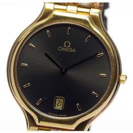 Omega 443041 18K Yellow Gold Quartz 32mm Mens Wrist Watch