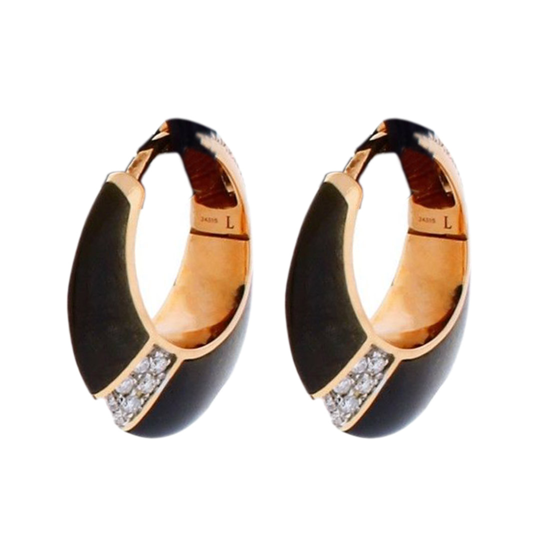 "Image of ""Chimento 18K Pink Gold Desiderio Pave Diamond & Obsidian Earrings"""