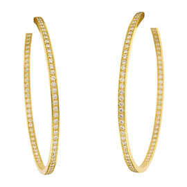 Cartier 18K Yellow Gold And 3ct. Diamond Large Hoop Earrings
