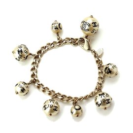 Chanel Gold Tone Metal Fake Pearl Bracelet