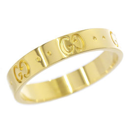 Gucci 750 18K Yellow Gold Icon Ring Size 8.25