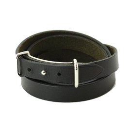 Hermes Silver Tone Metal Black Leather Cuff Bracelet