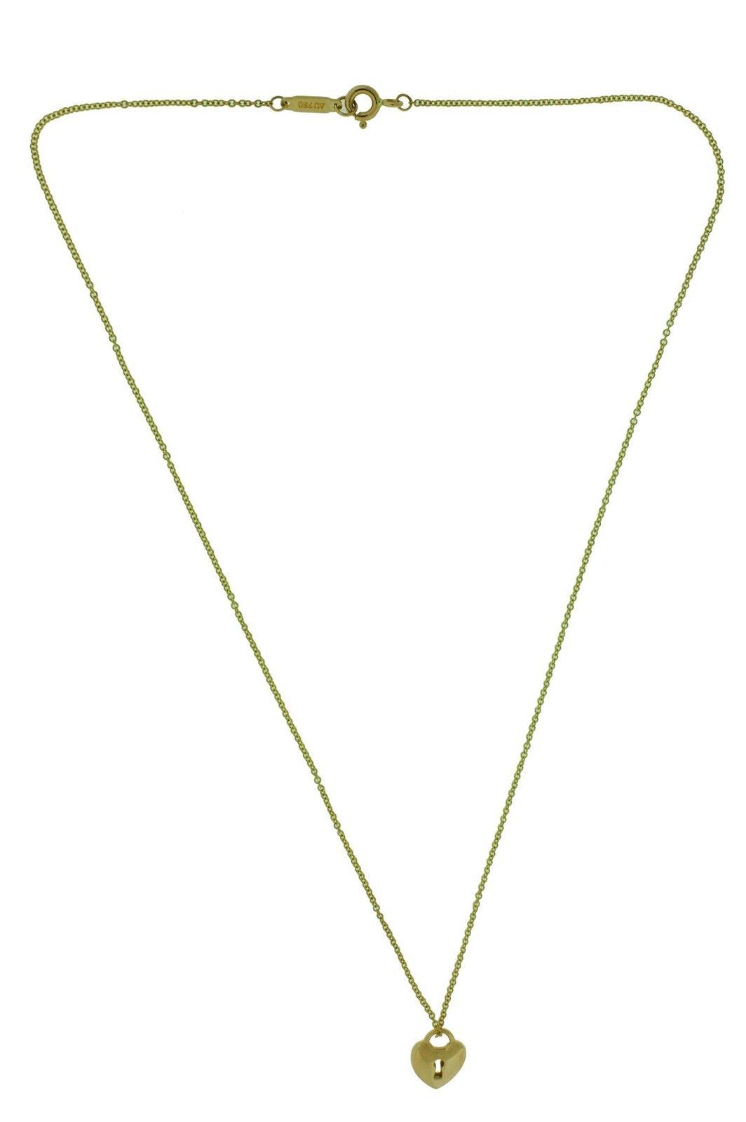 "Image of ""Tiffany & Co. 18K Rose Gold Locks Small Heart Lock Necklace"""