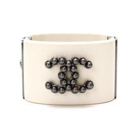 Chanel Resin Costume Faux Pearl Coco White Bangle