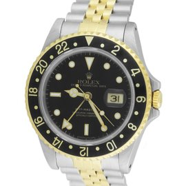 Rolex GMT-Master II 16713 18K Yellow Gold Stainless Steel Black Dial 40mm Mens Watch