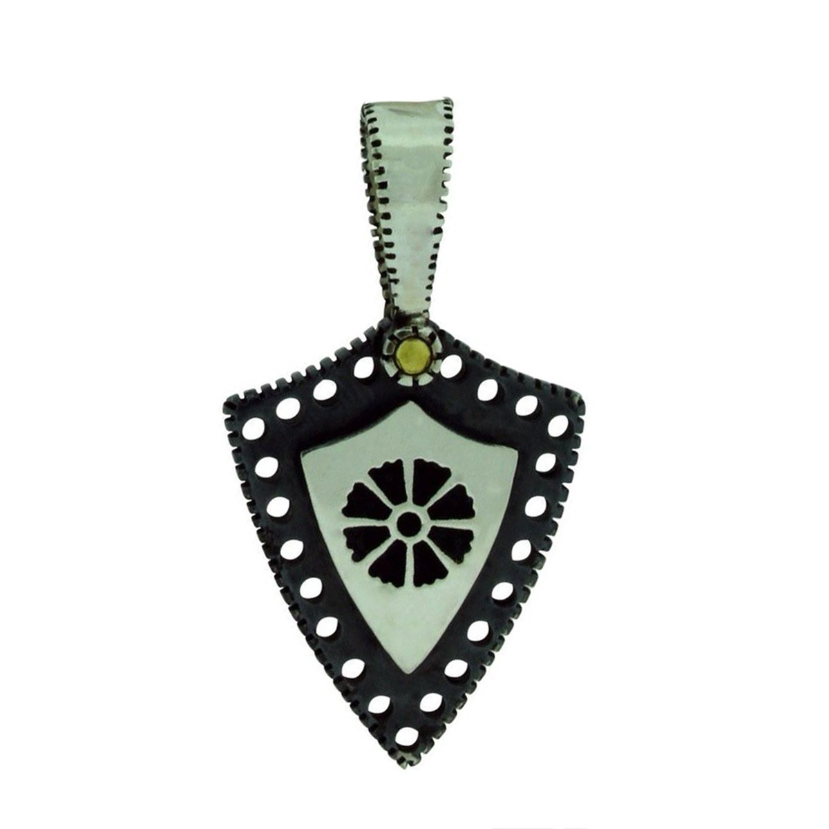 "Image of ""Gurhan 925 Sterling Silver Edge Shiny Small Shield Kite Flower Pendant"""