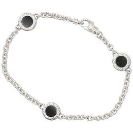 Bulgari 18K White Gold Onyx Chain Bracelet
