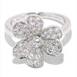 Van Cleef & Arpels 18K White Gold Frivole Diamond Ring Size 5.0