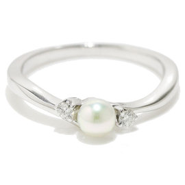 Mikimoto 18K White Gold Akoya Pearl Diamond Ring Size 5.0