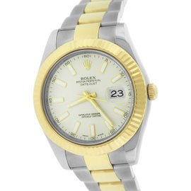 Rolex Datejust II 116333 Two-Tone 18K Yellow Gold / Stainless Steel Cream Ivory 41mm Mens Watch