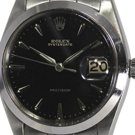 Rolex Oysterdate 6694 Stainless Steel Black Glossy Gilt Dial 34mm Mens Watch