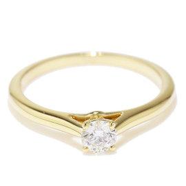 Cartier 18K Yellow Gold & 0.24ct Diamond Ring Size 5.75