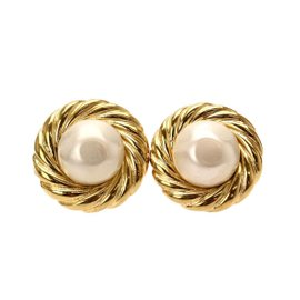 Chanel Gold Tone Metal & Fake Pearl Swing Earrings