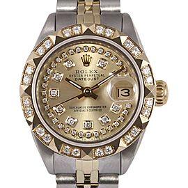 Rolex Datejust 2 Tone 18K Yellow Gold/Stainless Steel Champagne String Diamond Dial & Pyramid Diamond Bezel 26mm Womens Watch