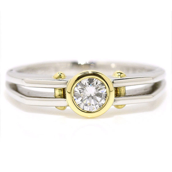 """""Christian Dior Pt950 Platinum and 18K Yellow Gold 0.26ct Diamond Ring"""""" 1738374"