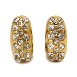 Chanel Gold Tone Metal & Rhinestone Earrings